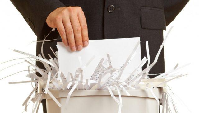 Уничтожение бумаг